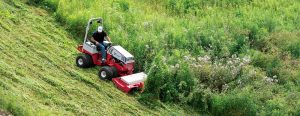 Mowing a steep hill